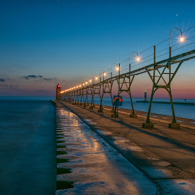 South Haven Lighthouse by Amy Ann - Buildings & Architecture Bridges & Suspended Structures ( lighthouse, michigan, waterscape, sunset, beach, dark,  )