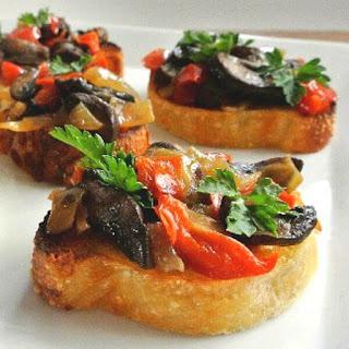 Cremini Mushroom Bruschetta Crostini.