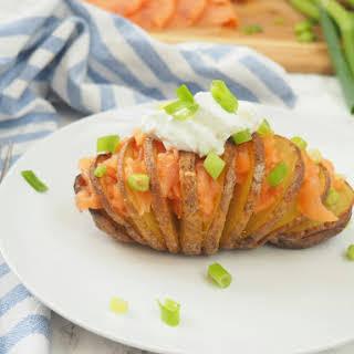 Hasselback Potatoes Stuffed with Smoked Salmon.