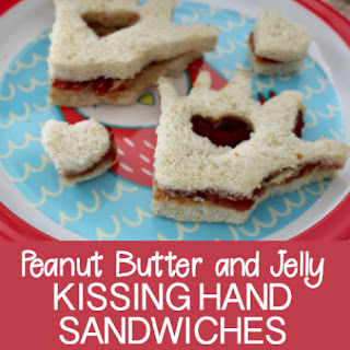 Peanut Butter and Jelly Kissing Hand Sandwich.