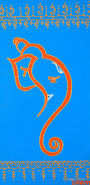Acrylic henna Ganesh painting