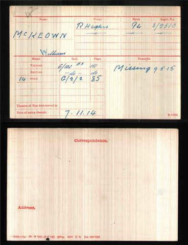 William John McKeown's Medal Index Card