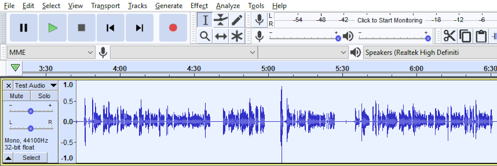 Audio file displayed and showing enlarged sound waves in Audacity