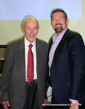 Photo: Legendary KTLA Reporter Stan Chambers (l) George Mc Quade, MAYO Communications
