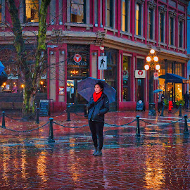 The Colour of Rain by Garry Dosa - City,  Street & Park  Street Scenes ( water, raining, magical, buildings, reflections, wet, vibrant, colours )