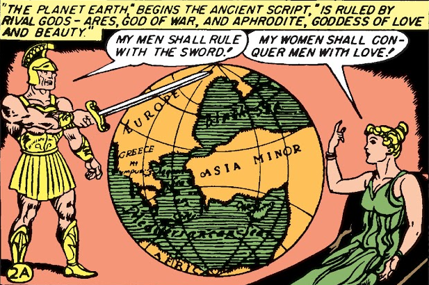 Mars vs Aphrodite in Wonder Woman Golden Age comic books