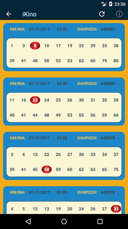 ikino - Αποτελέσματα και Στατιστικά KINO - στιγμιότυπο οθόνης