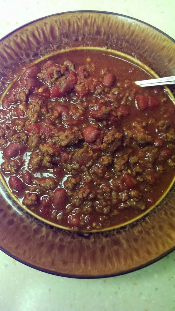 Homemade Chili. I Simmered It For A Couple Hours, Which Removed Some Of The Liquid. Comfort Food For A Cold Night!