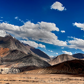 Barren Beauty by Jasminder Oberoi - Landscapes Mountains & Hills ( canon, canon 5d mark ii, hills, incredible india, ladakh, landscape, himalayas, cold desert, light chasers, leh, mountains, sky, nubra valley, landscape photography, india, khalsar, jas fotography, khardung )