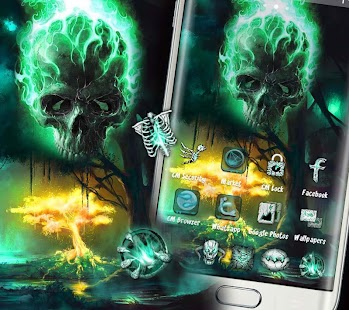 Green Fire Skull Theme - náhled