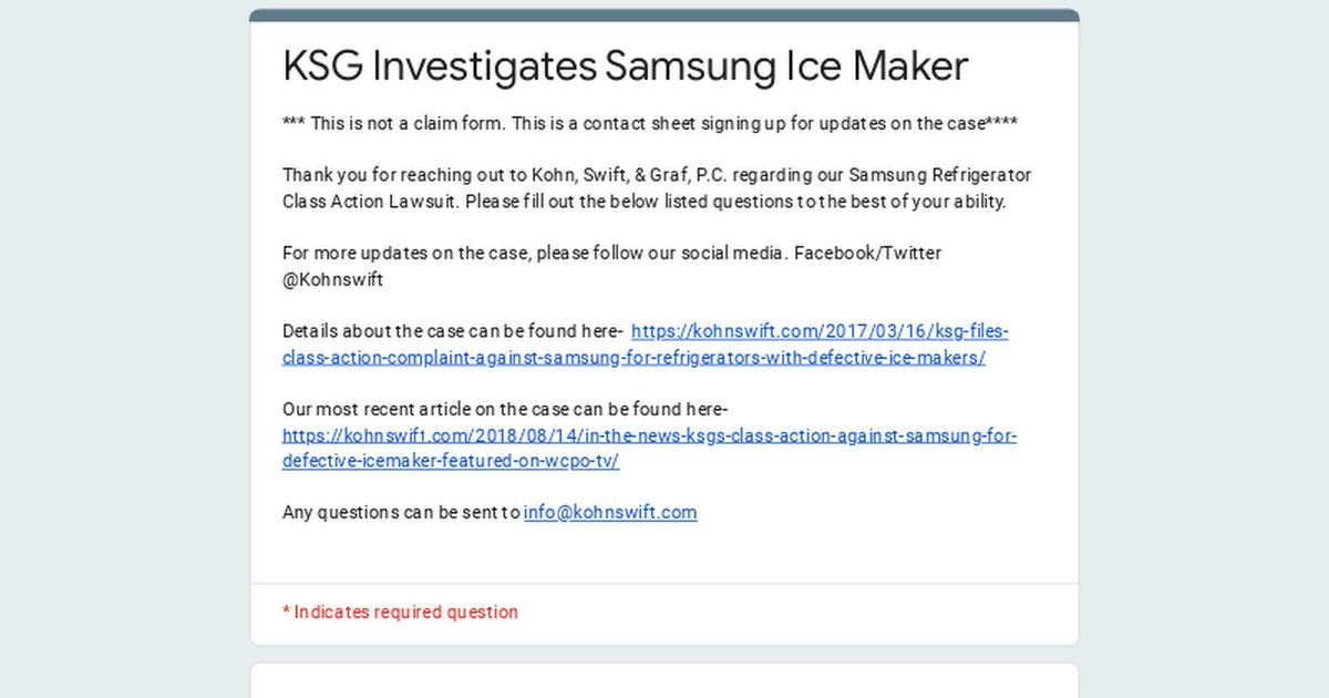 KSG Investigates Samsung Ice maker