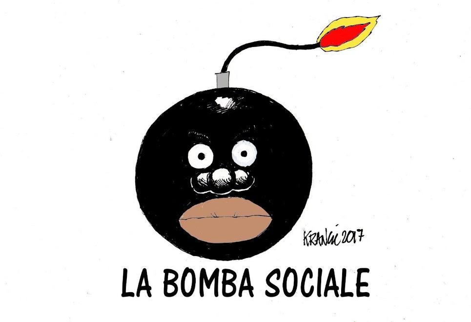 vignetta di una bomba classica palla con la miccia