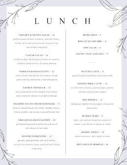 Elegant Lunch Menu - Food Menu item