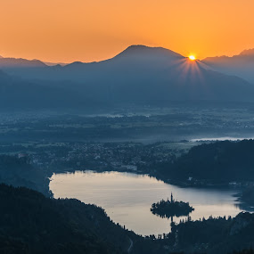 Sun above Bled by Aleš Mezek - Landscapes Sunsets & Sunrises ( bled in the morning, sončni vzhod bled, sunrise above bled, sunrise bled )