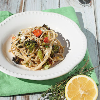 Linguine with Roasted Vegetables and Goat Cheese.