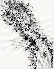 """Photo: """"cascade"""" encre de chine sur papier de murier , petit format"""