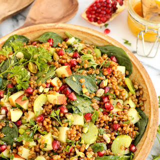 Wheat Berry and Spinach Salad with Orange-Curry Vinaigrette.