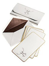 """Photo: ALEXA PULITZER Exclusively ours. Set of eight engraved """"Stag Alphabet"""" correspondence cards with portfolio case. $75. USA. Seventh Floor. 212 872 2686"""