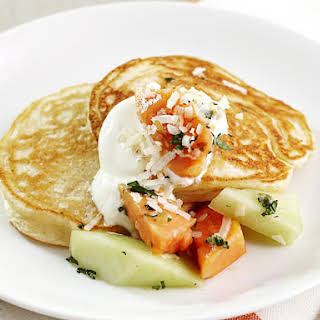 Coconut Ricotta Pancakes with Tropical Fruit Salsa.