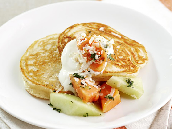 Spiced Coconut Pancakes With Tropical Fruit Recipes — Dishmaps