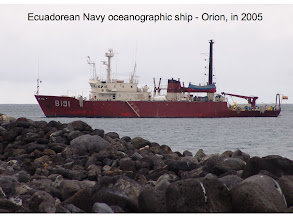 Photo: our first trip to Galapagos was on this Ecuadorean Navy Research ship - El Orion.  They invited us to make met observations.  And since I'd never been on a research cruise I (and another colleague) was happy to participate.