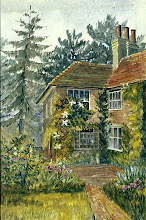 """Photo: Treeps, Wallace's wife's family home in Hurstpierpoint, Sussex. Wallace and Annie lived here for a year from mid 1867, and Wallace wrote """"The Malay Archipelago"""" here. A watercolour painting by Annie Wallace. First published: Raby (2001). Scanned with permission from the original owned by the Wallace family. Copyright of scan: A. R. Wallace Memorial Fund."""