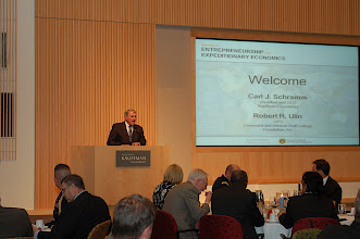 Photo: Bob Ulin, CEO of the CGSC Foundation, delivers a few remarks at the opening of the Summit on Expeditionary Economics, May 25, 2010.