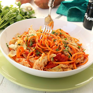 Tomato Sweet Potato Noodles with Roasted Artichokes and Chicken