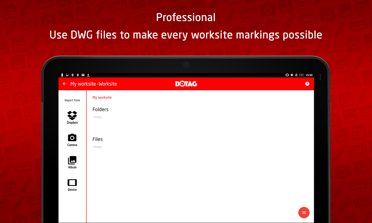 Dotag worksite mobile reporting application- screenshot