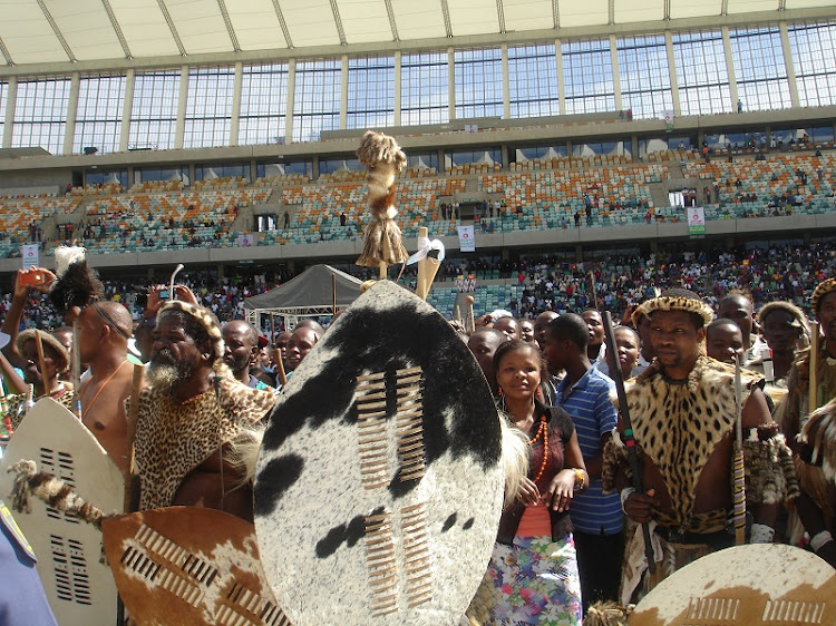 Traditional leaders and Zulu warriors attend an imbizo called by King Goodwill Zwelithini. Picture: NCE MKHIZE