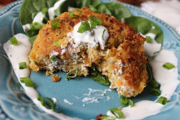 Serve these patties on a bed of fresh greens with a light dressing (sour...