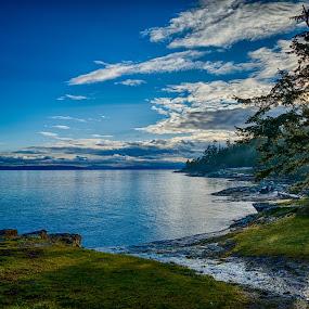 Ruckle Park, Salt Spring Island by GThomas Muir - Landscapes Waterscapes ( clouds, ruckle park, sunshine, ocean view, salt spring island )