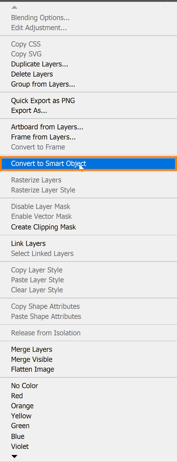 With the three Drop Shadow layers selected, right-click > select Convert to Smart Object