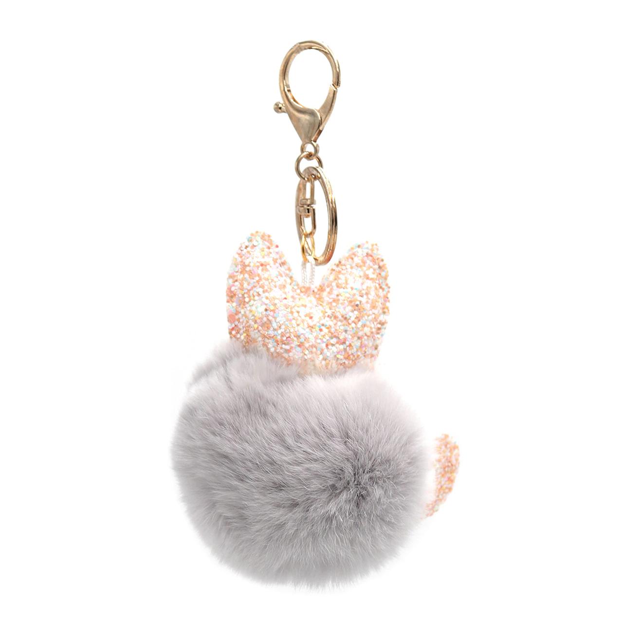 Rex Rabbit Fur Cat Keychain