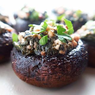 Spinach Stuffed Mushrooms with Feta & Garlic (Low Carb, Gluten-free).