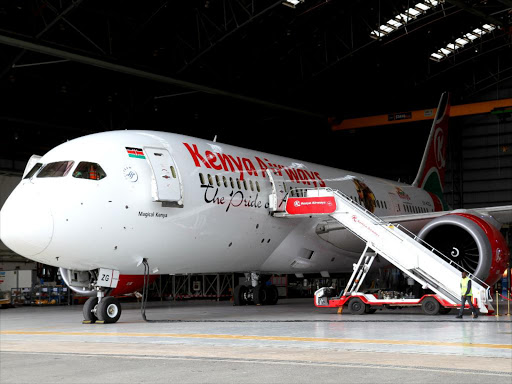 Boeing 787 dreamliner at the KQ headquarters along Airport North Road in Embakasi, Nairobi, on April 26 last year /ENOS TECHE