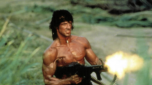 All-American hero: Ripped, sweaty and firing, Sylvester Stallone plays the role of a troubled war veteran in the Rambo series of movies, Hollywood's attempt to symbolically reverse the US humiliation in Vietnam. Picture: SUPPLIED