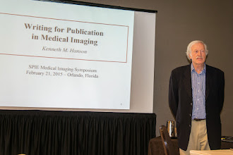 Photo: Ken Hanson teaching Technical Writing; SPIE Medical Imaging 2015 (S. Tourbier)