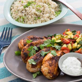 Chipotle-Spiced Chicken with Pepita Rice & Zucchini-Tomato Salad.