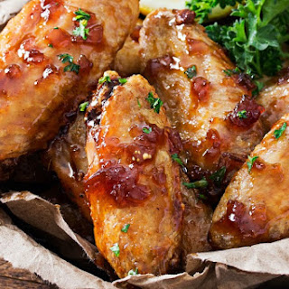 Jack Daniels Glazed Baked Chicken Wings.