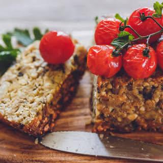 Mushroom and Nut Roast With Cherry Tomatoes [Vegan, Gluten-Free].