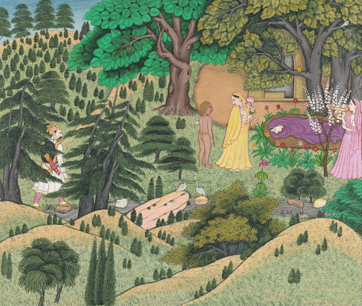 Curious about Shakuntala's feelings towards him, King Dushyanta Hides Behind the Trees