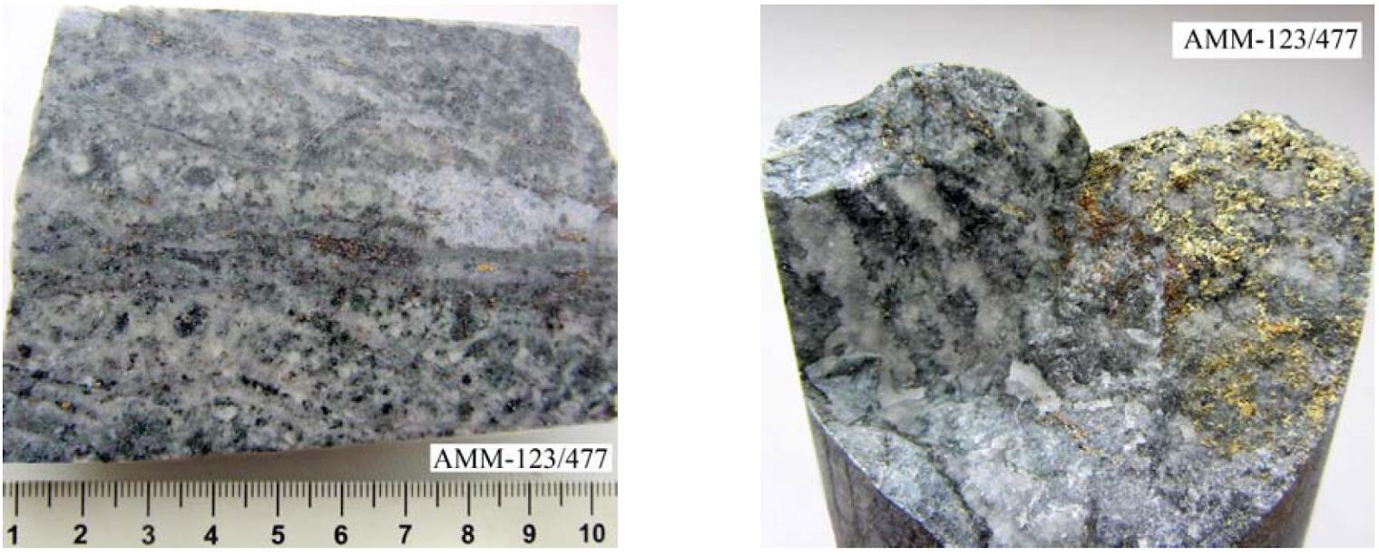 Минерализованный нечетко слоистый полевошпатокварцевый песчаник
