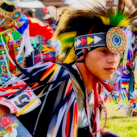 Pow Wow Dance by Barbara Brock - People Musicians & Entertainers ( dancer, native american, american indian, young male dancer, color, pow wow, tradition, costume )