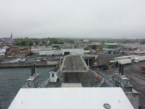 Photo: Loading the ferry at Sydney Nova Scotia, view from the window of my berth, I was at the front of the ship.  Most berths are windowless so I counted myself fortunate.