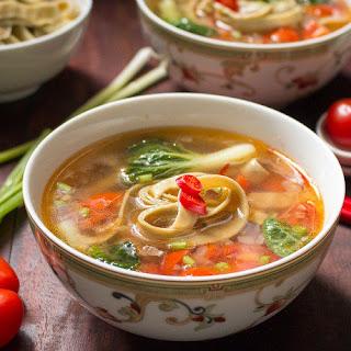 Spicy Tomato Mung Bean Noodle Soup.
