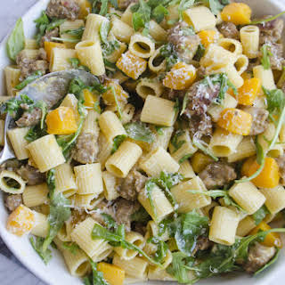 Mezzi Rigatoni with Butternut Squash and Spicy Sausage.