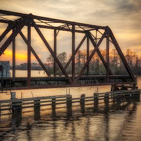 Train Trestle Swing Bridge by Robert Mullen - Buildings & Architecture Bridges & Suspended Structures ( washington, tressel, train trestle, sunset, bridge,  )