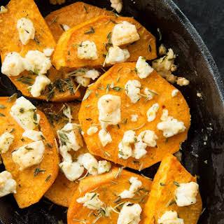 Baked Herbed Sweet Potatoes & Feta.