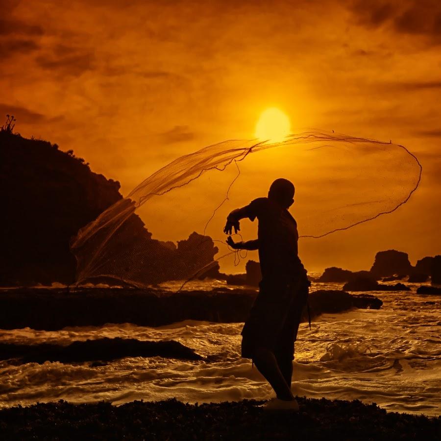 I Cast My Net into the Sea by Lucky E. Santoso - People Fine Art ( pwcsilhouettemotion, sunset, sea, beach, net, fisherman )